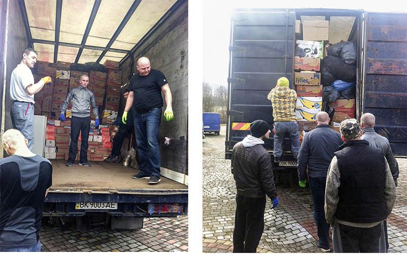 Vrachtwagen met hulpgoederen en kleding uit Nederland