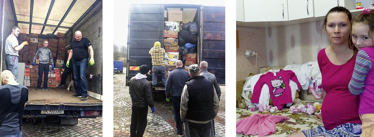 aankomst vrachtwagen met hulpgoederen